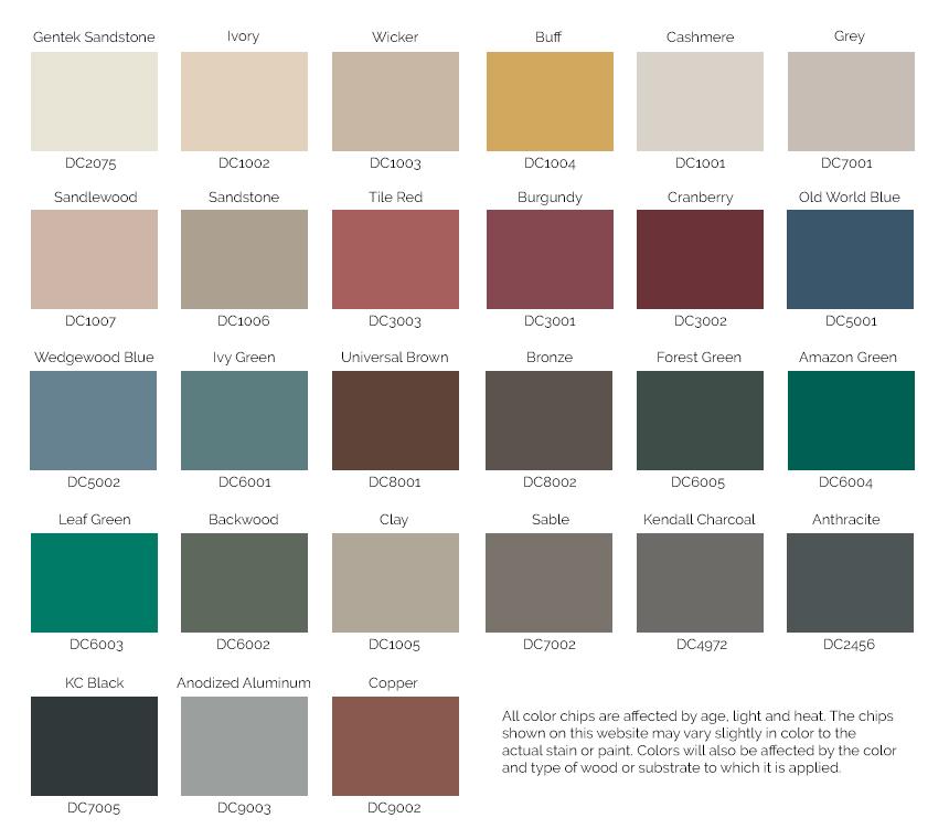 Westeck Vinyl Slider Window Colors