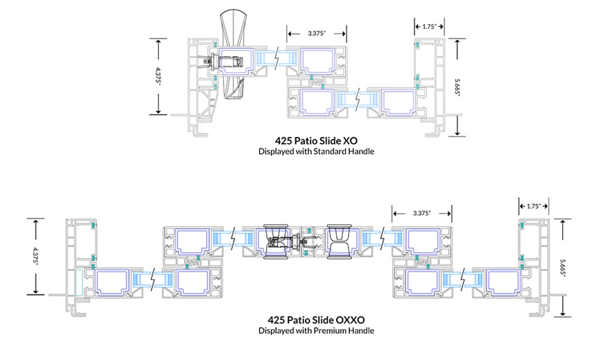 425 Patio Slide Cross Sections